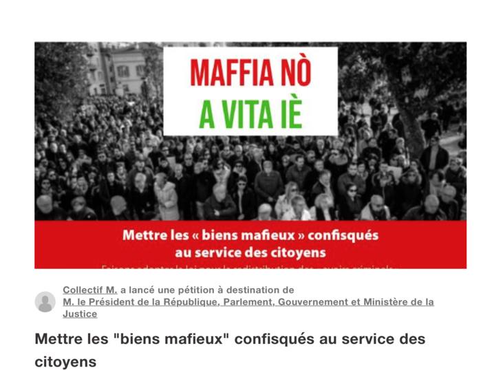 """Une pétition d'une grande importance : """"Les biens mafieux rendus aux citoyens"""""""